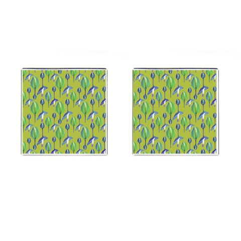 Tropical Floral Pattern Cufflinks (Square)