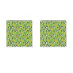 Tropical Floral Pattern Cufflinks (Square) Front
