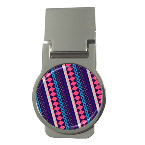 Purple And Pink Retro Geometric Pattern Money Clips (Round)