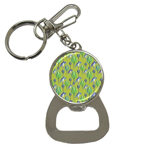 Tropical Floral Pattern Bottle Opener Key Chains