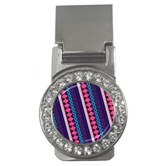 Purple And Pink Retro Geometric Pattern Money Clips (CZ)