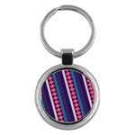 Purple And Pink Retro Geometric Pattern Key Chains (Round)  Front