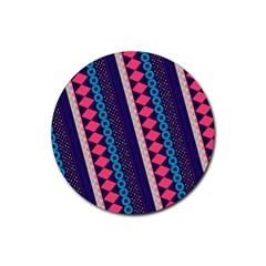 Purple And Pink Retro Geometric Pattern Rubber Round Coaster (4 Pack)