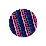 Purple And Pink Retro Geometric Pattern Rubber Round Coaster (4 pack)  Front