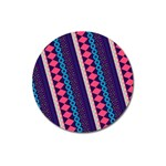 Purple And Pink Retro Geometric Pattern Magnet 3  (Round) Front