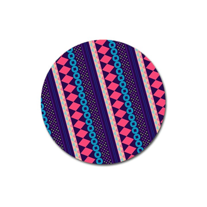 Purple And Pink Retro Geometric Pattern Magnet 3  (Round)