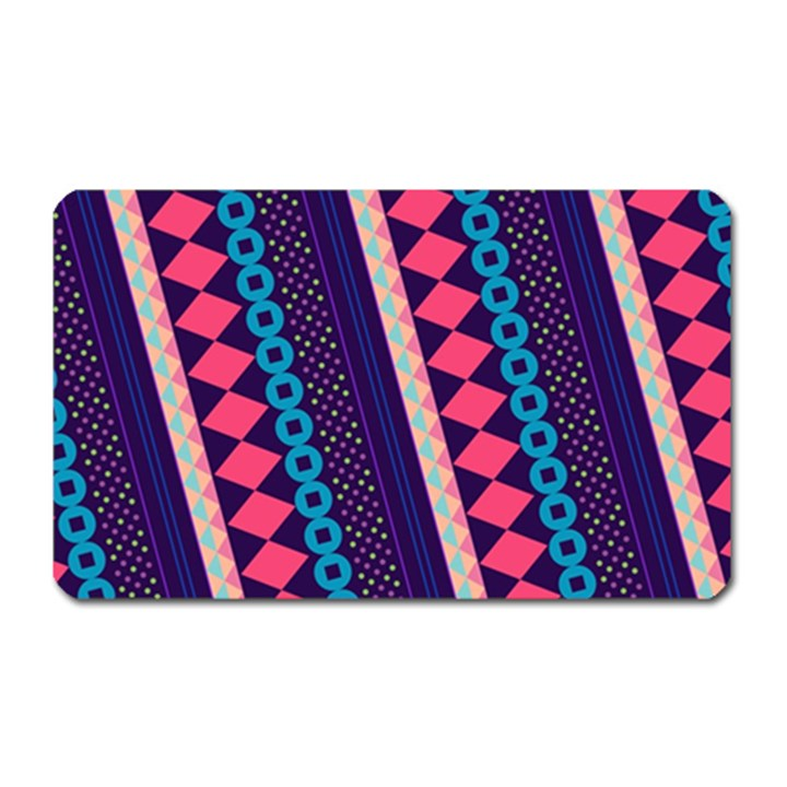 Purple And Pink Retro Geometric Pattern Magnet (Rectangular)