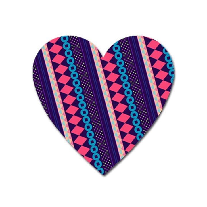 Purple And Pink Retro Geometric Pattern Heart Magnet