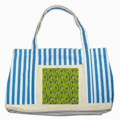 Tropical Floral Pattern Striped Blue Tote Bag
