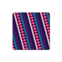Purple And Pink Retro Geometric Pattern Square Magnet