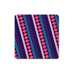 Purple And Pink Retro Geometric Pattern Square Magnet Front