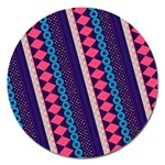 Purple And Pink Retro Geometric Pattern Magnet 5  (Round) Front