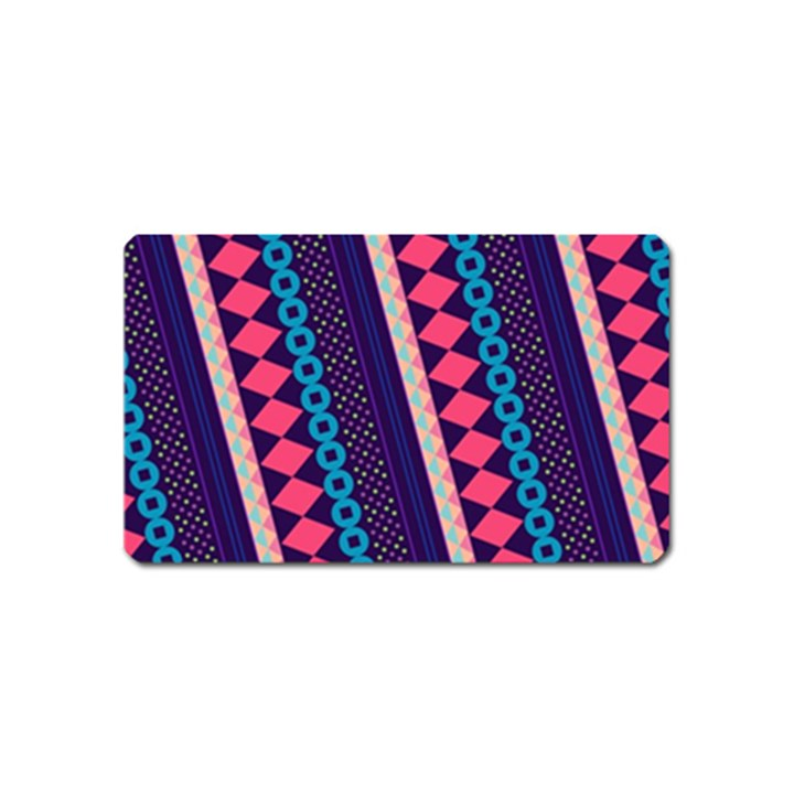 Purple And Pink Retro Geometric Pattern Magnet (Name Card)