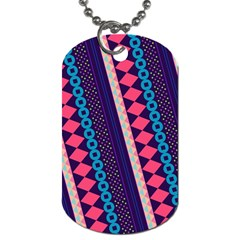 Purple And Pink Retro Geometric Pattern Dog Tag (one Side)