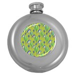 Tropical Floral Pattern Round Hip Flask (5 oz) Front