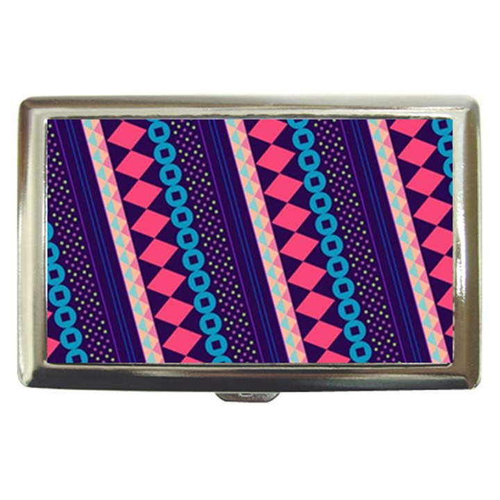 Purple And Pink Retro Geometric Pattern Cigarette Money Cases
