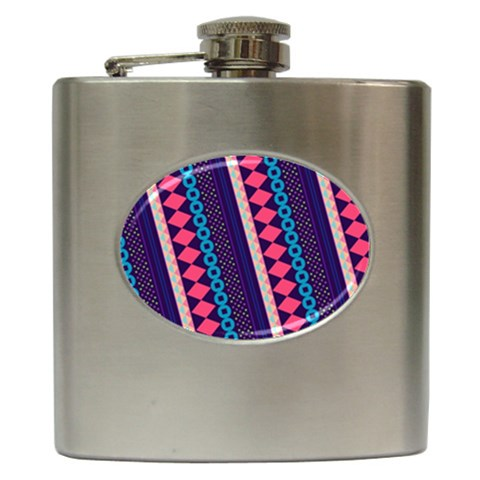 Purple And Pink Retro Geometric Pattern Hip Flask (6 oz)