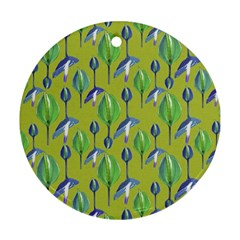Tropical Floral Pattern Round Ornament (two Sides)