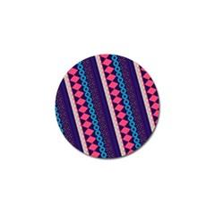 Purple And Pink Retro Geometric Pattern Golf Ball Marker