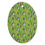 Tropical Floral Pattern Oval Ornament (Two Sides) Front