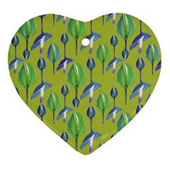 Tropical Floral Pattern Heart Ornament (2 Sides)