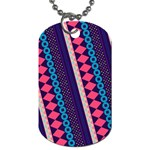Purple And Pink Retro Geometric Pattern Dog Tag (Two Sides) Back