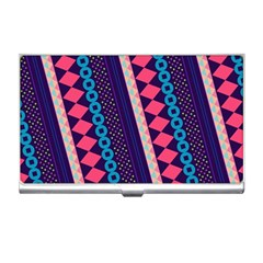 Purple And Pink Retro Geometric Pattern Business Card Holders