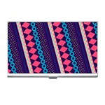 Purple And Pink Retro Geometric Pattern Business Card Holders Front