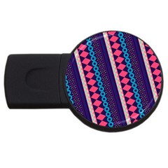 Purple And Pink Retro Geometric Pattern Usb Flash Drive Round (2 Gb)