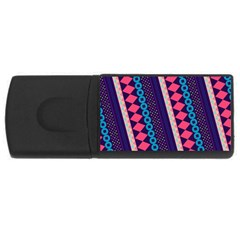 Purple And Pink Retro Geometric Pattern USB Flash Drive Rectangular (2 GB)