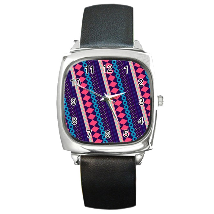 Purple And Pink Retro Geometric Pattern Square Metal Watch