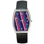 Purple And Pink Retro Geometric Pattern Barrel Style Metal Watch Front