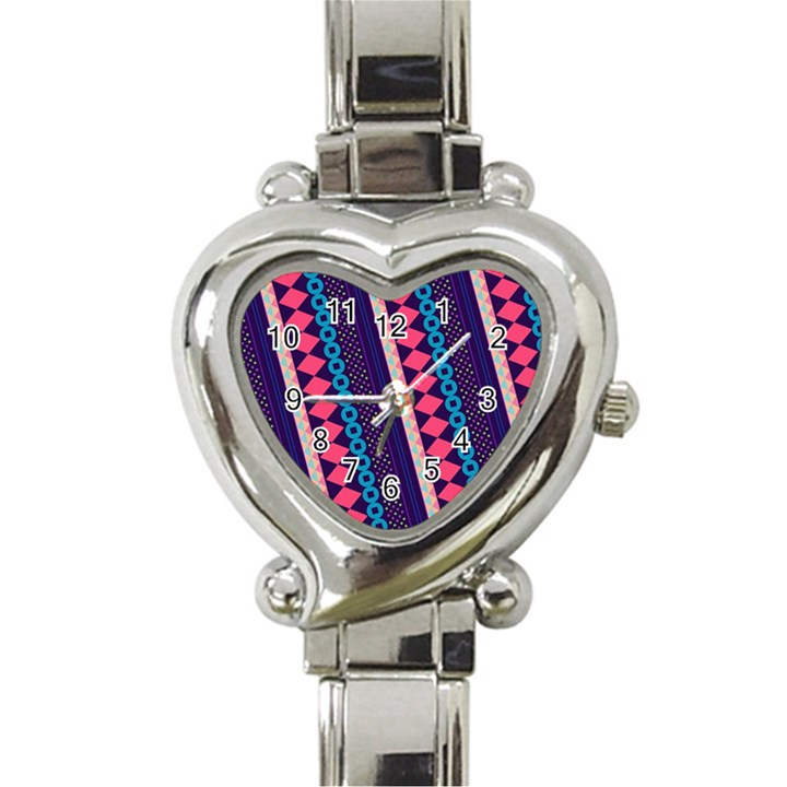 Purple And Pink Retro Geometric Pattern Heart Italian Charm Watch