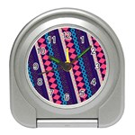 Purple And Pink Retro Geometric Pattern Travel Alarm Clocks Front