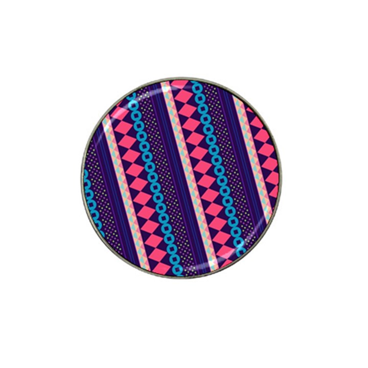 Purple And Pink Retro Geometric Pattern Hat Clip Ball Marker (4 pack)