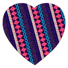 Purple And Pink Retro Geometric Pattern Jigsaw Puzzle (heart)