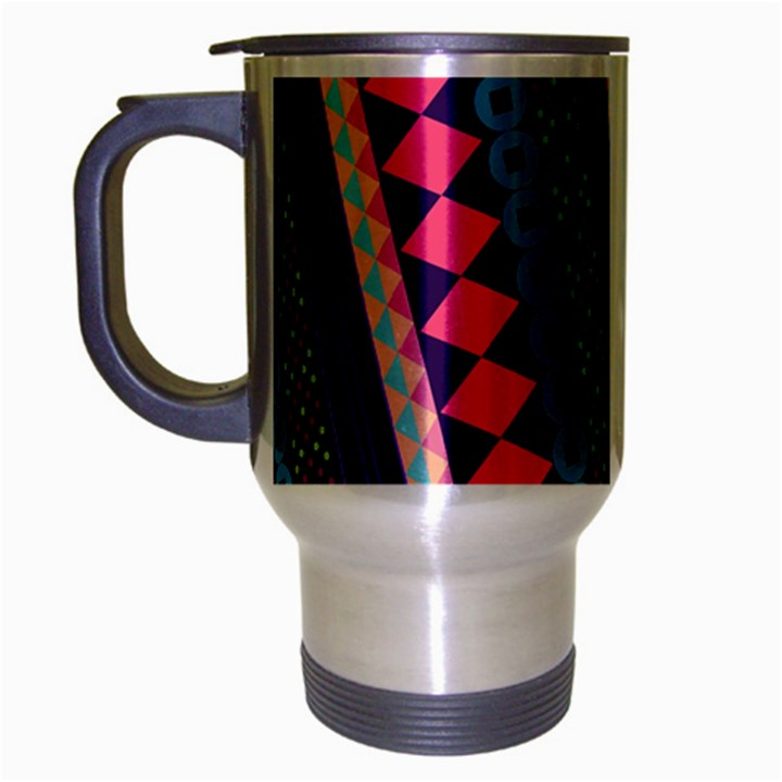 Purple And Pink Retro Geometric Pattern Travel Mug (Silver Gray)