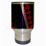 Purple And Pink Retro Geometric Pattern Travel Mug (Silver Gray) Center
