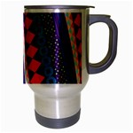 Purple And Pink Retro Geometric Pattern Travel Mug (Silver Gray) Right