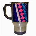 Purple And Pink Retro Geometric Pattern Travel Mugs (White) Left