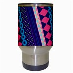 Purple And Pink Retro Geometric Pattern Travel Mugs (White) Center
