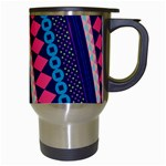 Purple And Pink Retro Geometric Pattern Travel Mugs (White) Right