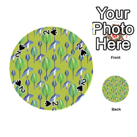 Tropical Floral Pattern Playing Cards 54 (Round)