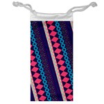 Purple And Pink Retro Geometric Pattern Jewelry Bags Front