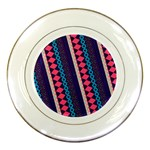 Purple And Pink Retro Geometric Pattern Porcelain Plates Front