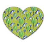 Tropical Floral Pattern Heart Mousepads Front
