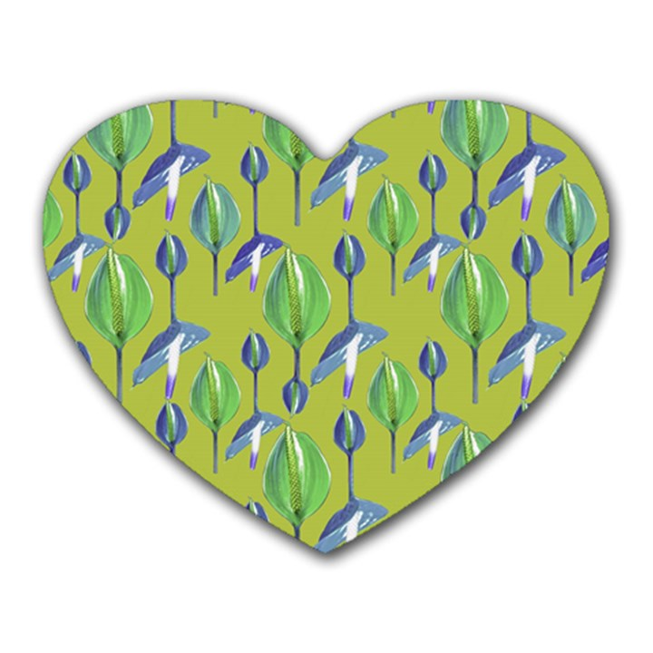 Tropical Floral Pattern Heart Mousepads