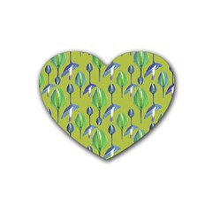 Tropical Floral Pattern Rubber Coaster (heart)
