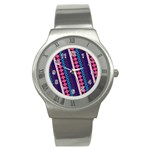 Purple And Pink Retro Geometric Pattern Stainless Steel Watch Front