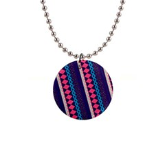 Purple And Pink Retro Geometric Pattern Button Necklaces